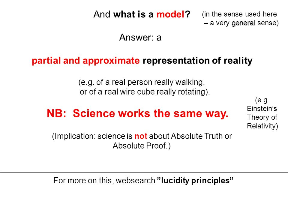 And what is a model. Answer: a partial and approximate representation of reality (e.g.