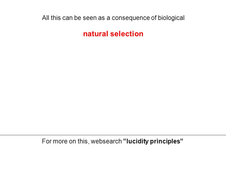 All this can be seen as a consequence of biological natural selection For more on this, websearch lucidity principles