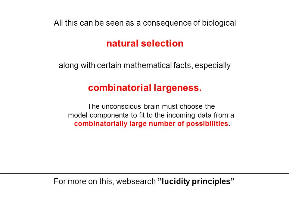 All this can be seen as a consequence of biological natural selection along with certain mathematical facts, especially combinatorial largeness.