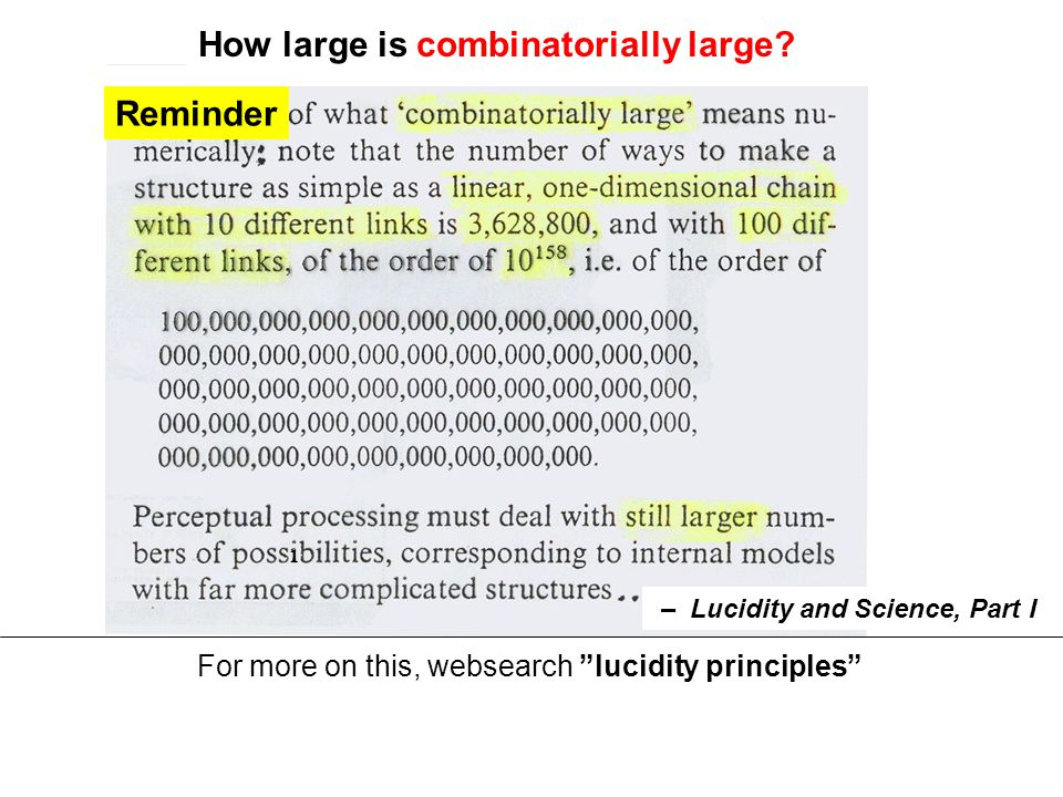Reminder For more on this, websearch lucidity principles How large is combinatorially large.