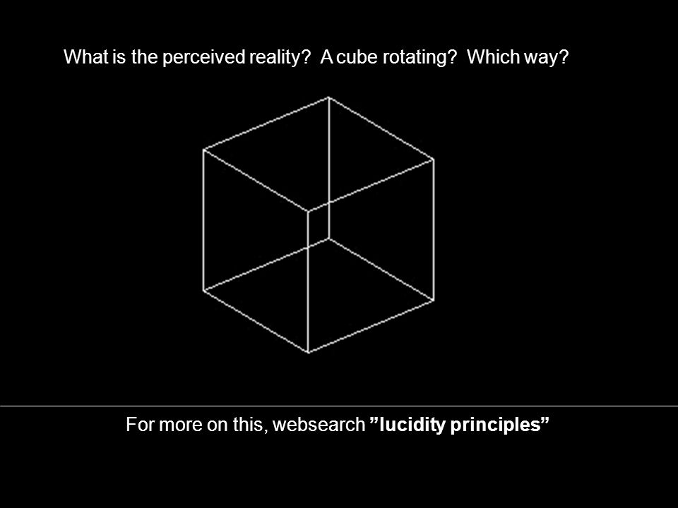 What is the perceived reality? A cube rotating? Which way?