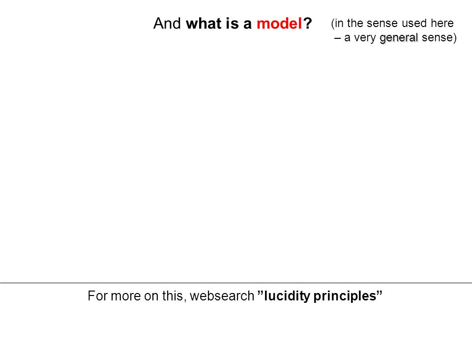 And what is a model.Answer: a partial and approximate representation of reality (e.g.