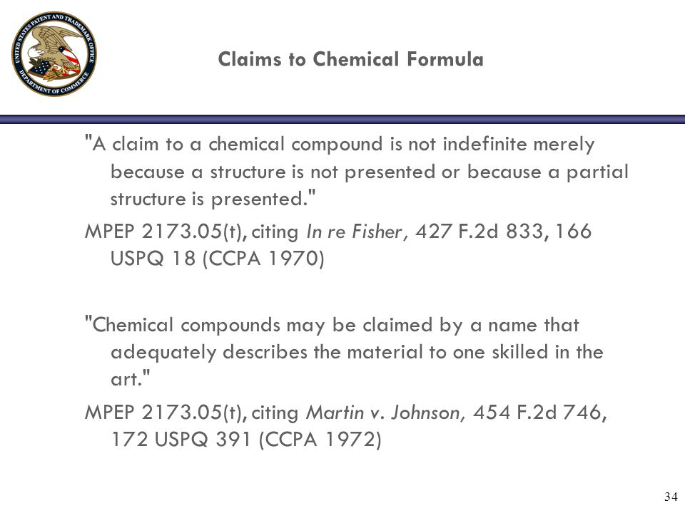 34 Claims to Chemical Formula