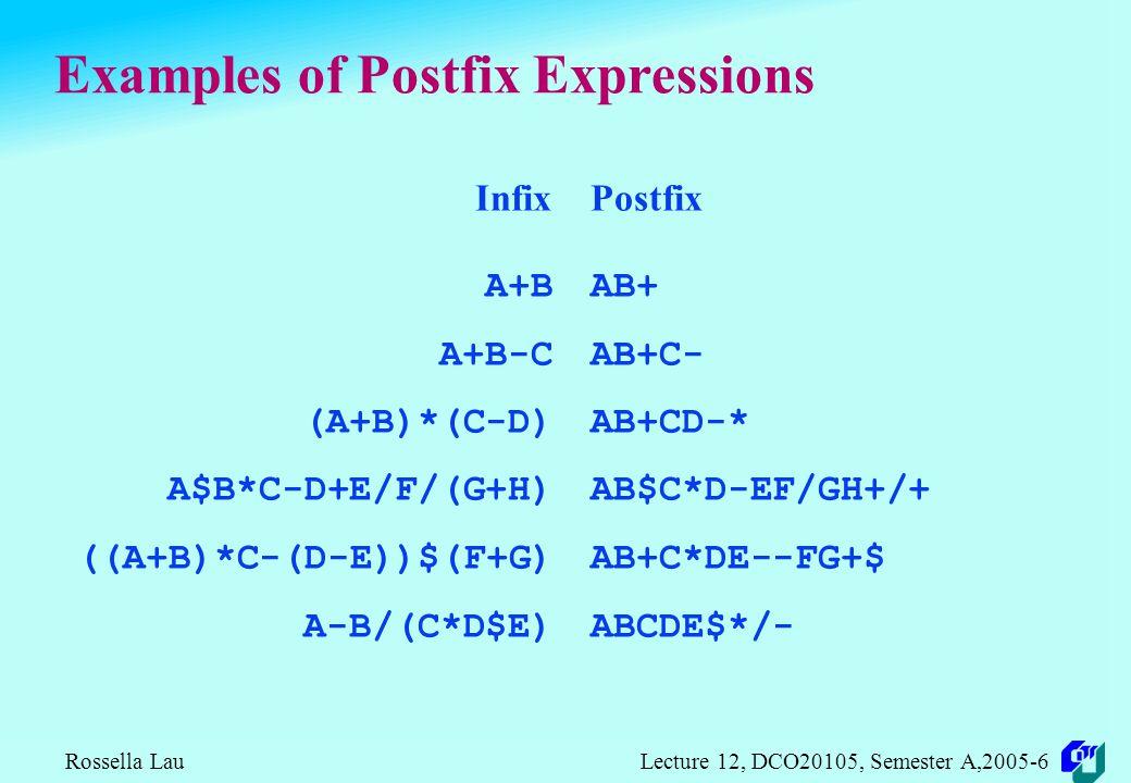Rossella Lau Lecture 12, DCO20105, Semester A,2005-6 Examples of Prefix Expressions Infix A+B A+B-C (A+B)*(C-D) A$B*C-D+E/F/(G+H) ((A+B)*C-(D-E))$(F+G) A-B/(C*D$E) Prefix +AB -+ABC *+AB-CD +-*$ABCD//EF+GH $-*+ABC-DE+FG -A/B*C$DE