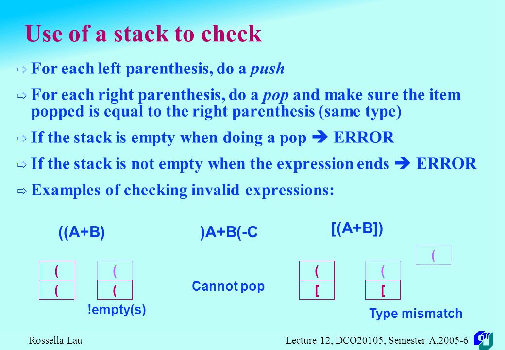 Rossella Lau Lecture 12, DCO20105, Semester A,2005-6 Use of nesting depth and parenthesis count  Nesting depth: left parenthesis: open a scope right parenthesis: close a scope nesting depth at a particular point is the number of scopes that have been opened but not closed  Parenthesis count: at a particular point as the number of left parentheses minus the number of right parentheses if the count is not negative, it is the nesting depth  Check parentheses use by checking if parenthesis count: is greater than or equal to 0 at any point is equal to 0 at the end of the expression of course, checking should include the parenthesis type: {}, [],()
