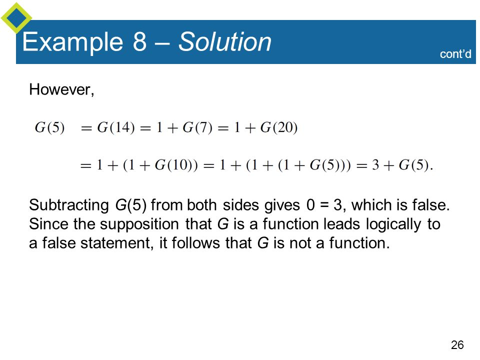 26 However, Subtracting G(5) from both sides gives 0 = 3, which is false.