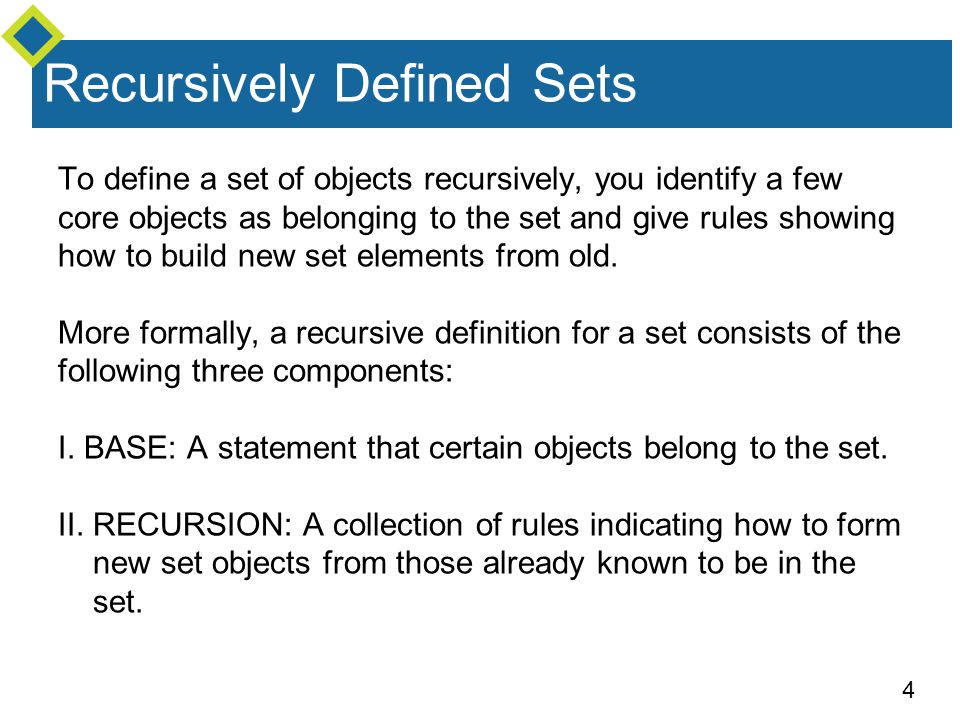4 To define a set of objects recursively, you identify a few core objects as belonging to the set and give rules showing how to build new set elements from old.
