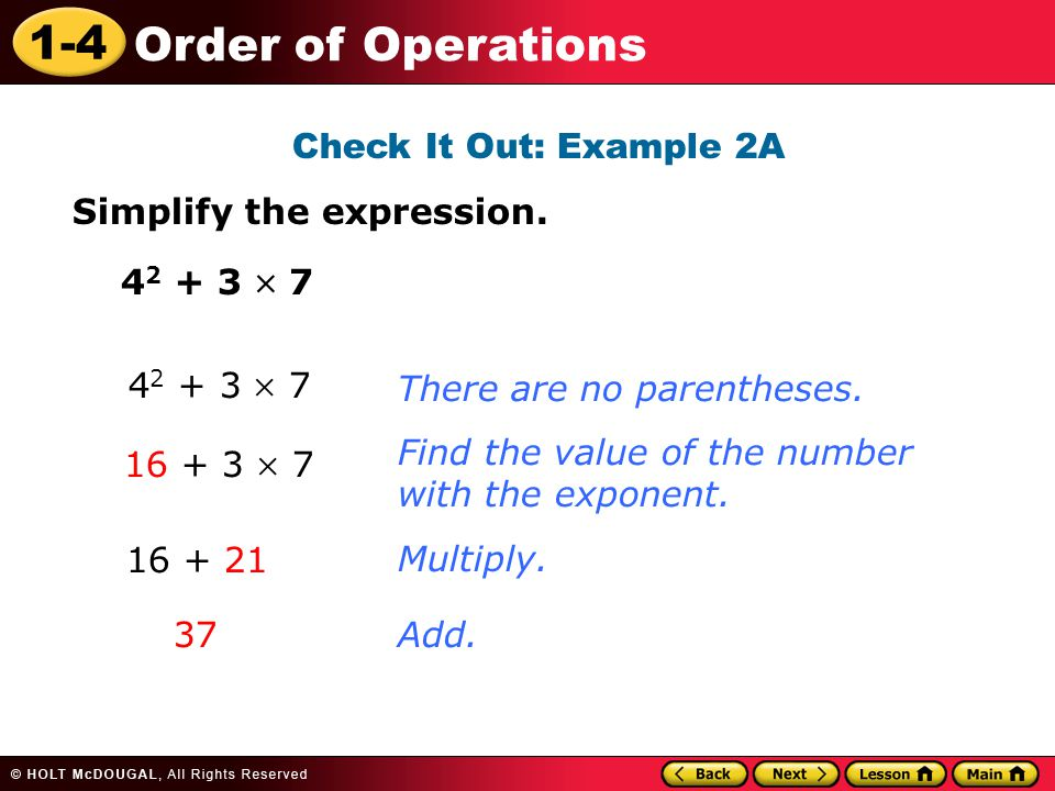 1-4 Order of Operations Check It Out: Example 2A Simplify the expression.