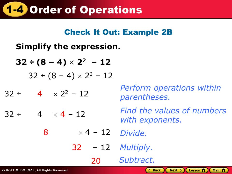 1-4 Order of Operations Check It Out: Example 2B Simplify the expression.