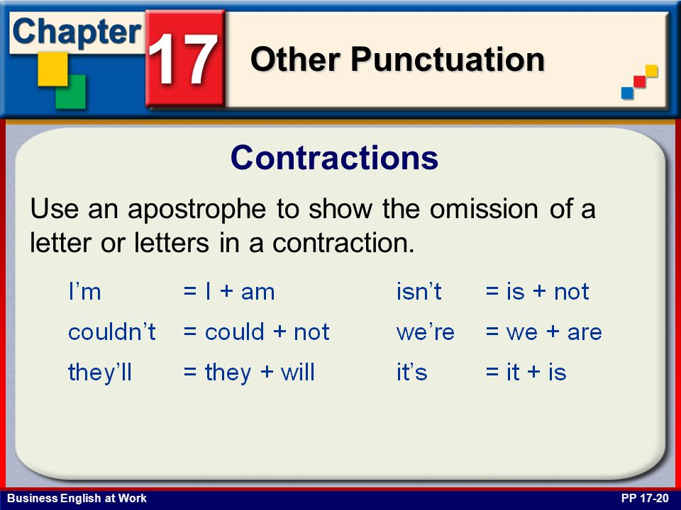 Business English at Work Other Punctuation Contractions PP 17-20 Use an apostrophe to show the omission of a letter or letters in a contraction.