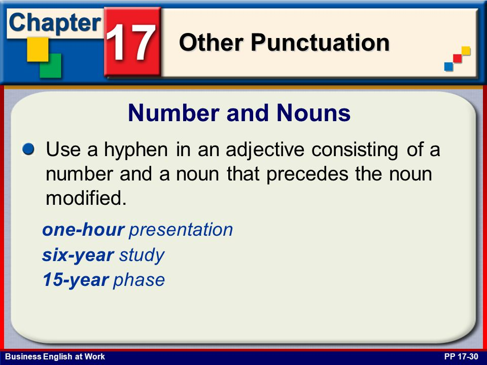 Business English at Work Other Punctuation Number and Nouns PP 17-30 Use a hyphen in an adjective consisting of a number and a noun that precedes the noun modified.