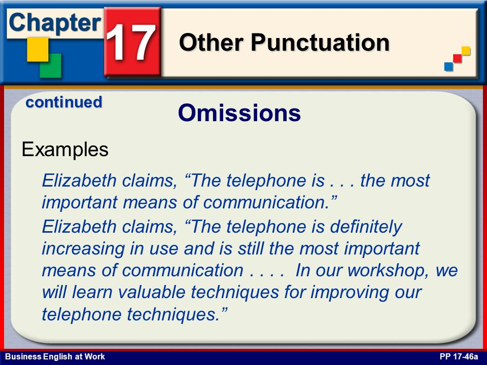 Business English at Work Other Punctuation Omissions PP 17-46a Examples continued Elizabeth claims, The telephone is...