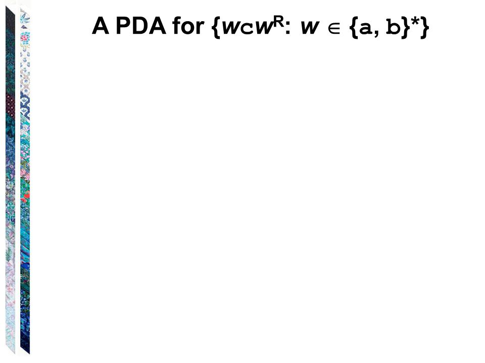A PDA for {w c w R : w  { a, b }*}