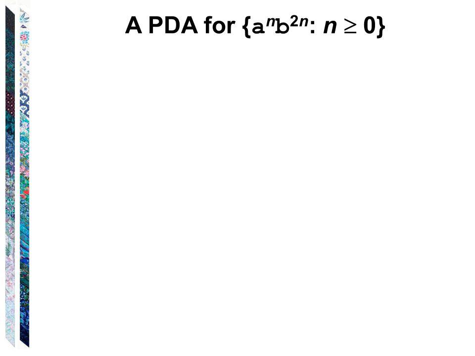 A PDA for { a n b 2n : n  0}
