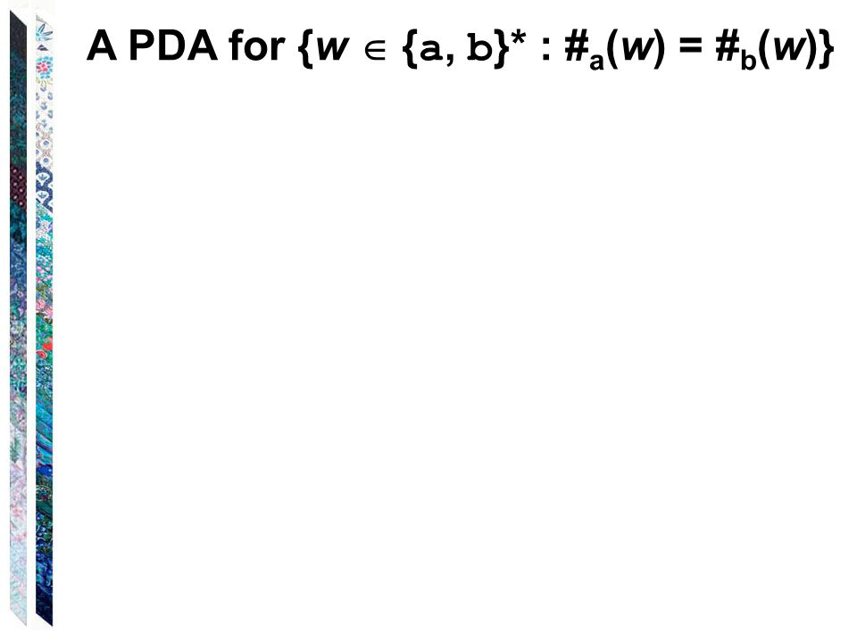 A PDA for {w  { a, b }* : # a (w) = # b (w)}
