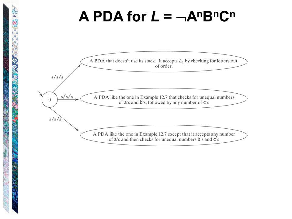 A PDA for L =  A n B n C n