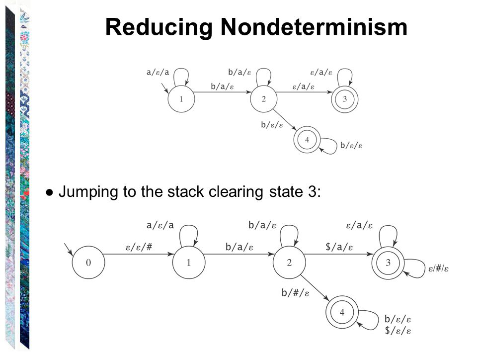 Reducing Nondeterminism ● Jumping to the stack clearing state 3: