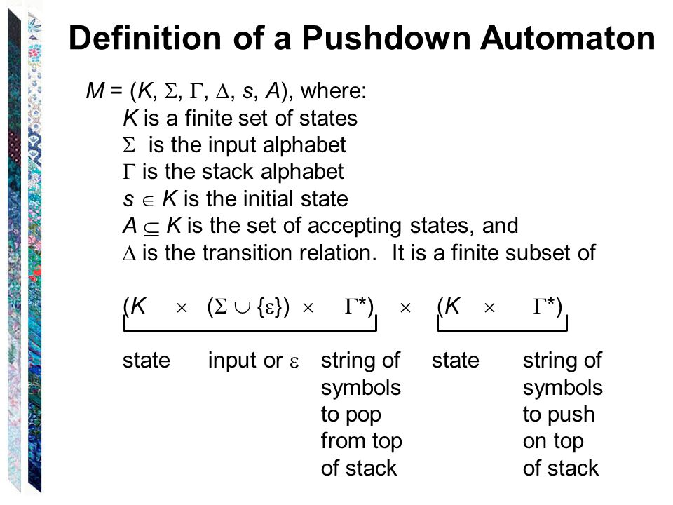 Definition of a Pushdown Automaton A configuration of M is an element of K   *   *.