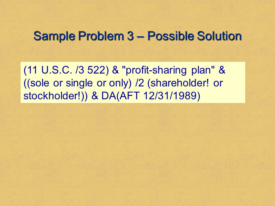 Sample Problem 3 – Possible Solution (11 U.S.C.