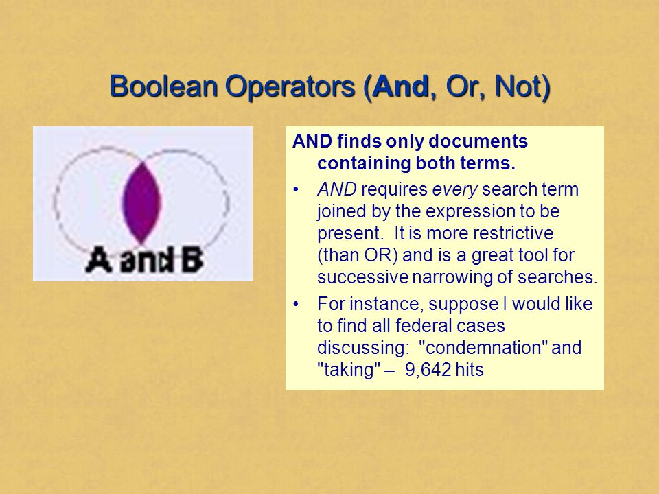 Boolean Operators (And, Or, Not) AND finds only documents containing both terms.