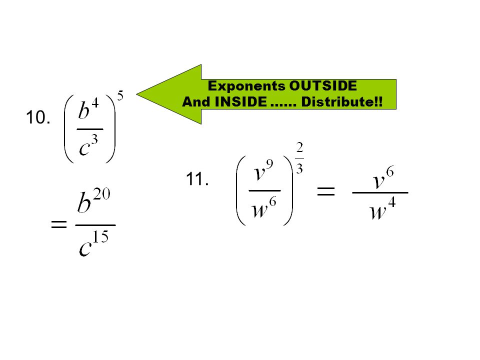 10. Exponents OUTSIDE And INSIDE …… Distribute!! 11.