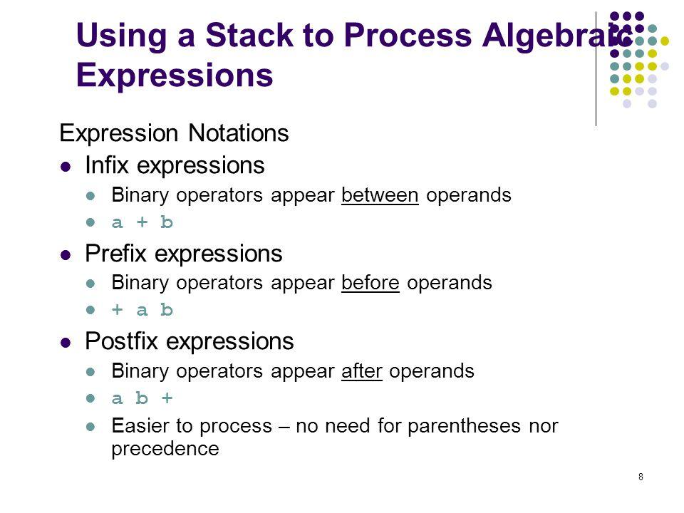 8 Using a Stack to Process Algebraic Expressions Expression Notations Infix expressions Binary operators appear between operands a + b Prefix expressi