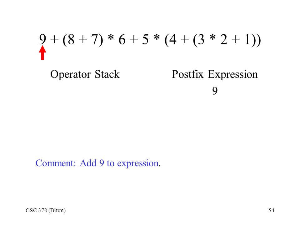 CSC 370 (Blum)54 9 + (8 + 7) * 6 + 5 * (4 + (3 * 2 + 1)) Operator StackPostfix Expression 9 Comment: Add 9 to expression.
