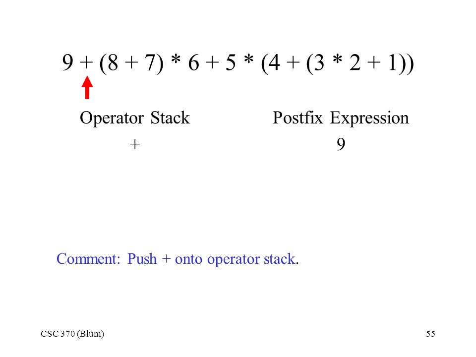 CSC 370 (Blum)55 9 + (8 + 7) * 6 + 5 * (4 + (3 * 2 + 1)) Operator Stack + Postfix Expression 9 Comment: Push + onto operator stack.