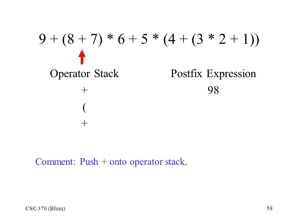 CSC 370 (Blum)58 9 + (8 + 7) * 6 + 5 * (4 + (3 * 2 + 1)) Operator Stack + ( + Postfix Expression 98 Comment: Push + onto operator stack.