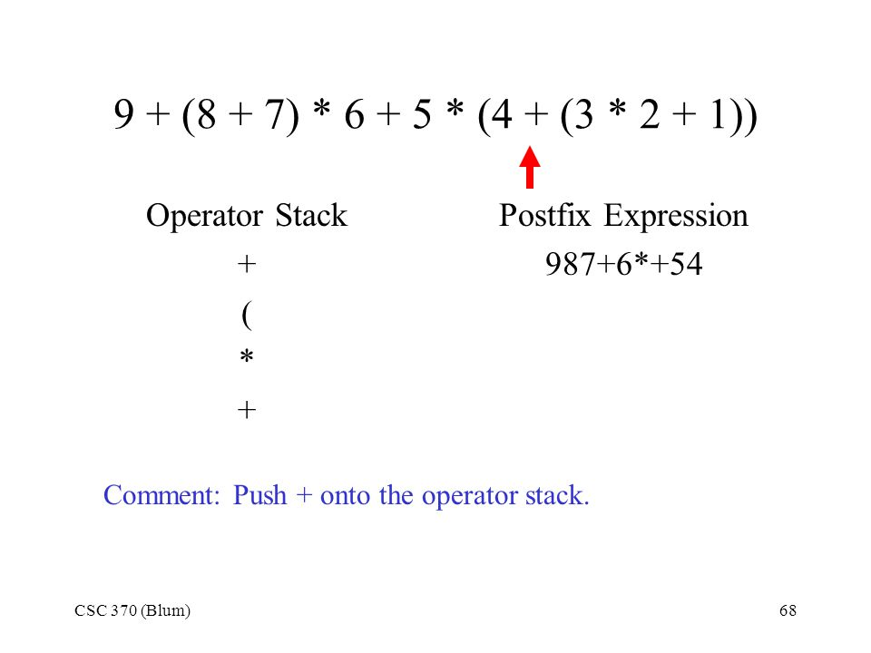 CSC 370 (Blum)68 9 + (8 + 7) * 6 + 5 * (4 + (3 * 2 + 1)) Operator Stack + ( * + Postfix Expression 987+6*+54 Comment: Push + onto the operator stack.
