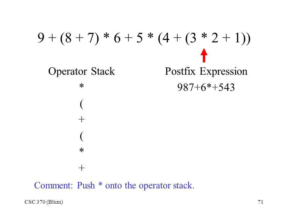 CSC 370 (Blum)71 9 + (8 + 7) * 6 + 5 * (4 + (3 * 2 + 1)) Operator Stack * ( + ( * + Postfix Expression 987+6*+543 Comment: Push * onto the operator st
