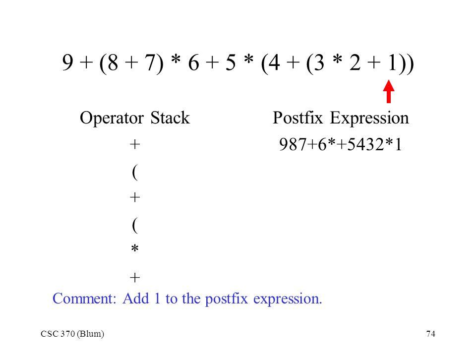 CSC 370 (Blum)74 9 + (8 + 7) * 6 + 5 * (4 + (3 * 2 + 1)) Operator Stack + ( + ( * + Postfix Expression 987+6*+5432*1 Comment: Add 1 to the postfix exp