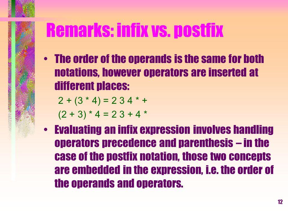 12 Remarks: infix vs.