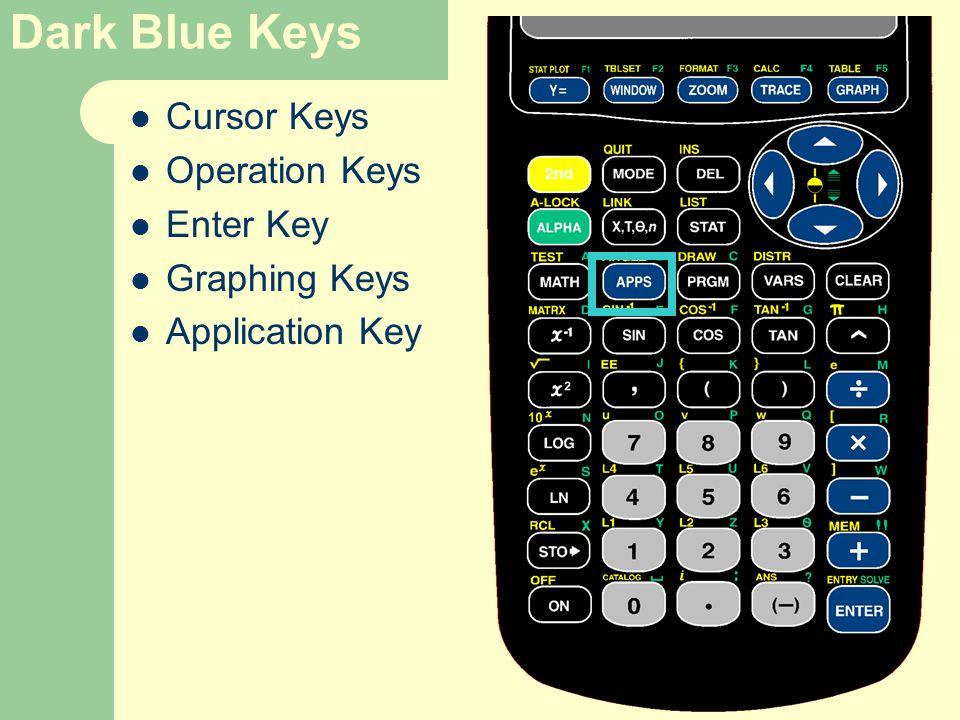 Dark Blue Keys Cursor Keys Operation Keys Enter Key Graphing Keys Application Key