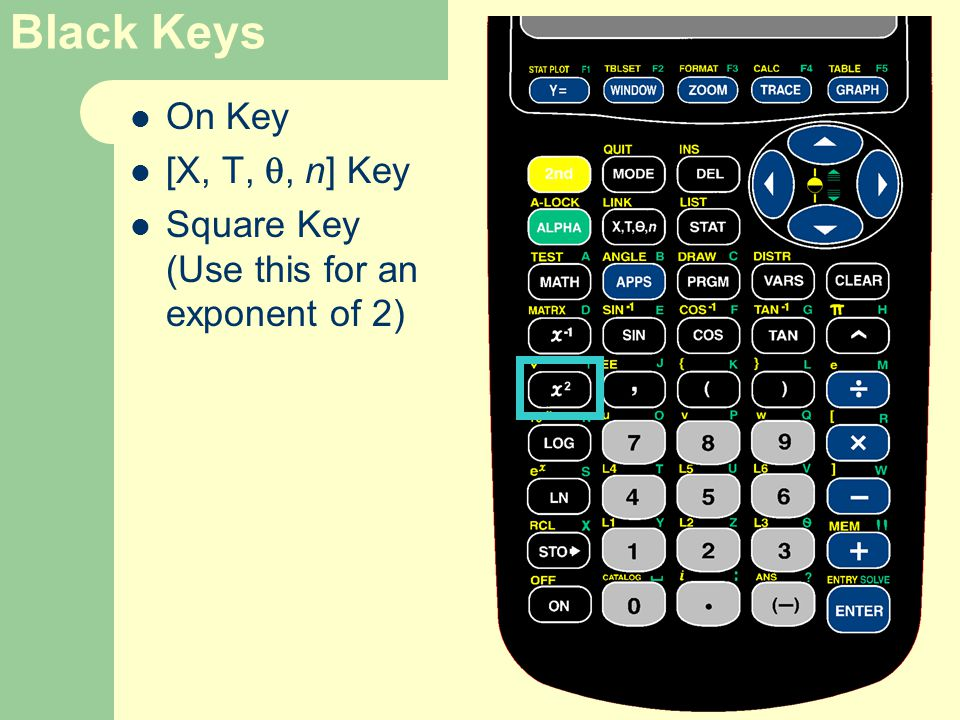 Black Keys On Key [X, T, , n] Key Square Key (Use this for an exponent of 2)