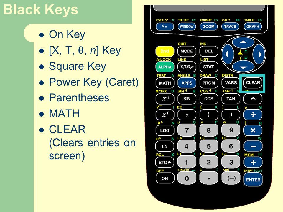 Black Keys On Key [X, T, , n] Key Square Key Power Key (Caret) Parentheses MATH CLEAR (Clears entries on screen)