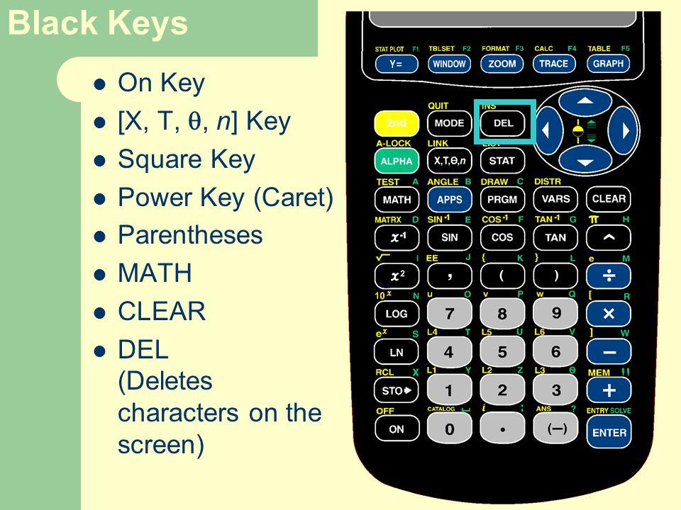 Black Keys On Key [X, T, , n] Key Square Key Power Key (Caret) Parentheses MATH CLEAR DEL (Deletes characters on the screen)