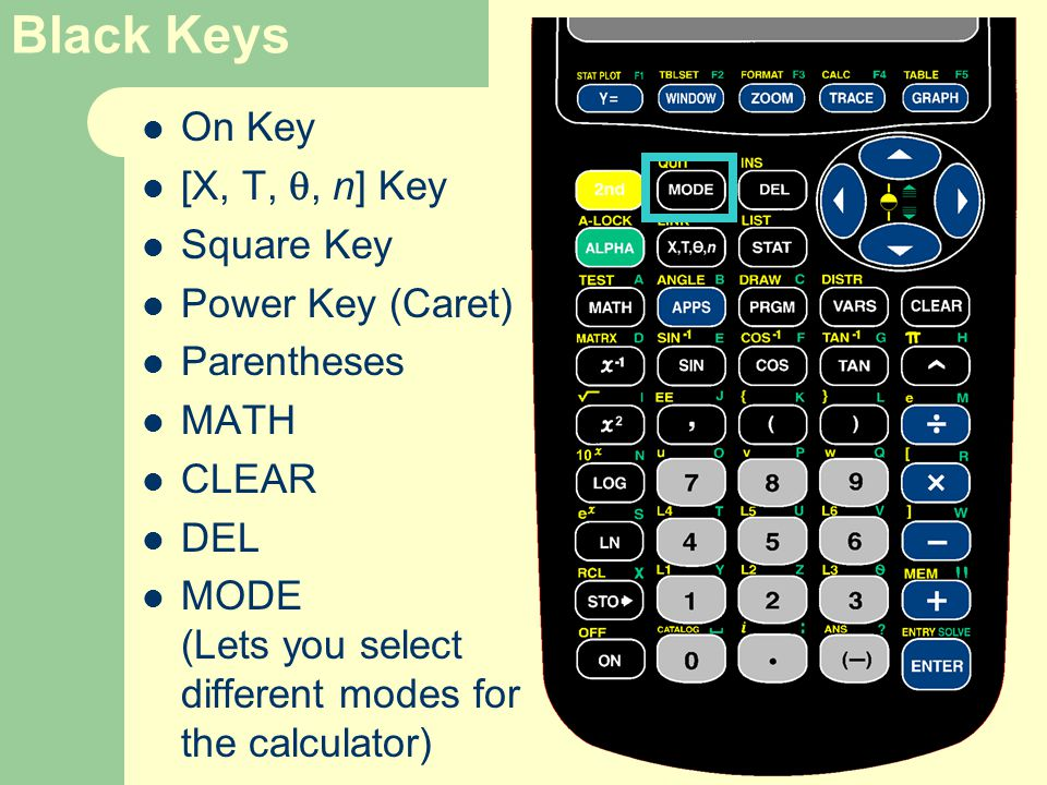 Black Keys On Key [X, T, , n] Key Square Key Power Key (Caret) Parentheses MATH CLEAR DEL MODE (Lets you select different modes for the calculator)