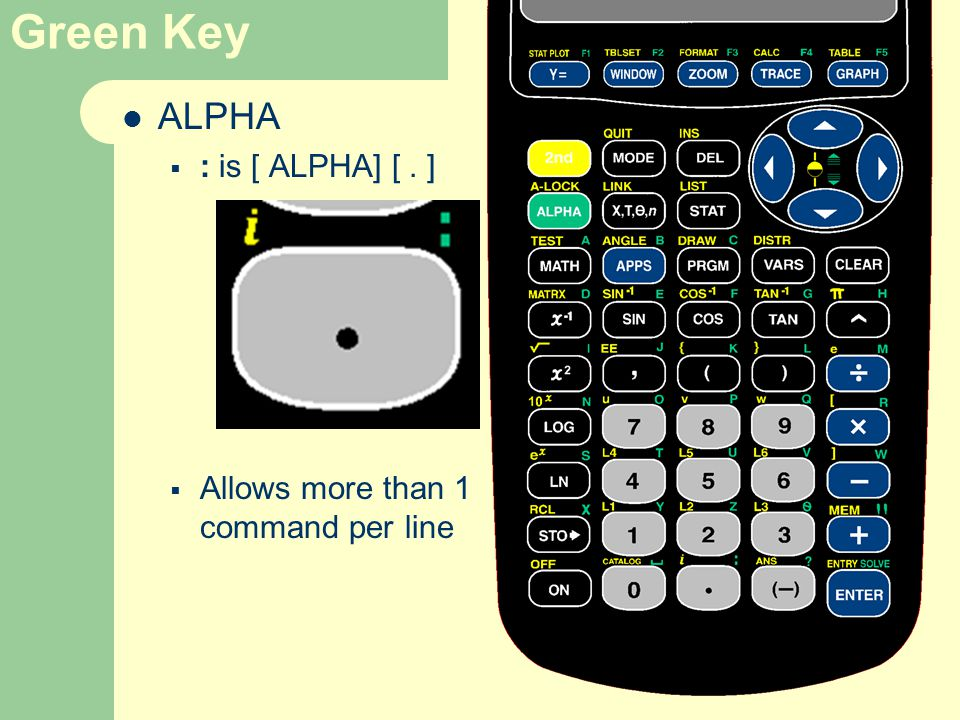 Green Key ALPHA  : is [ ALPHA] [. ]  Allows more than 1 command per line