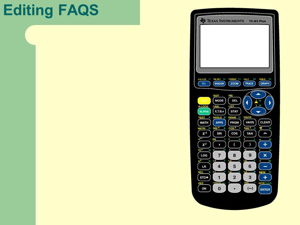 Editing FAQS