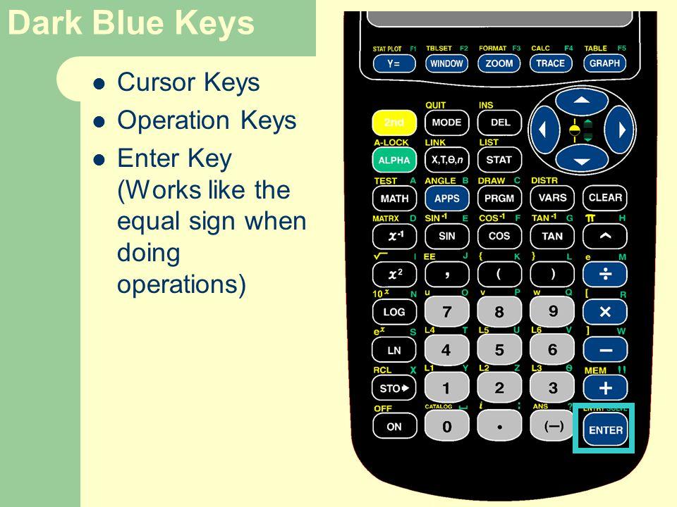 Dark Blue Keys Cursor Keys Operation Keys Enter Key (Works like the equal sign when doing operations)