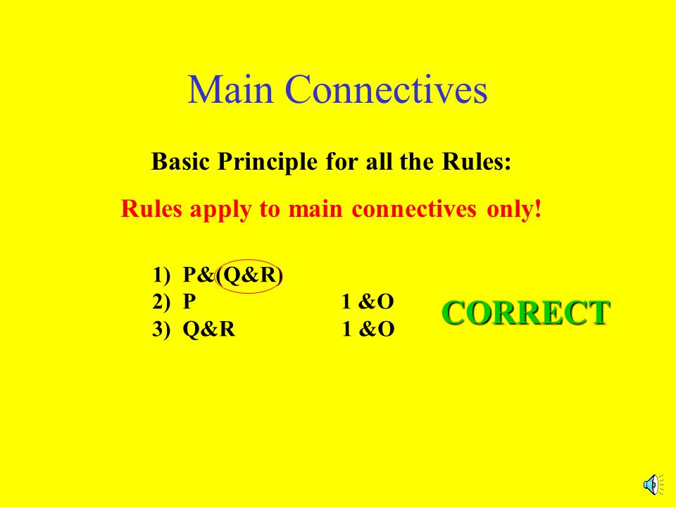 WRONG Main Connectives Basic Principle for all the Rules: Rules apply to main connectives only.