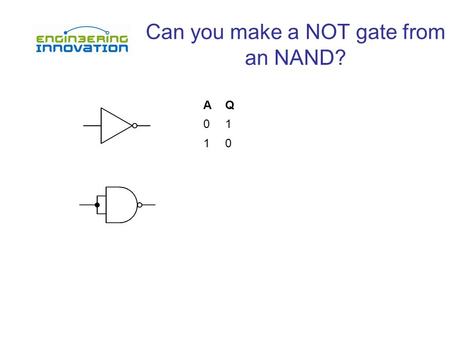 Can you make a NOT gate from an NAND AQ 01 10