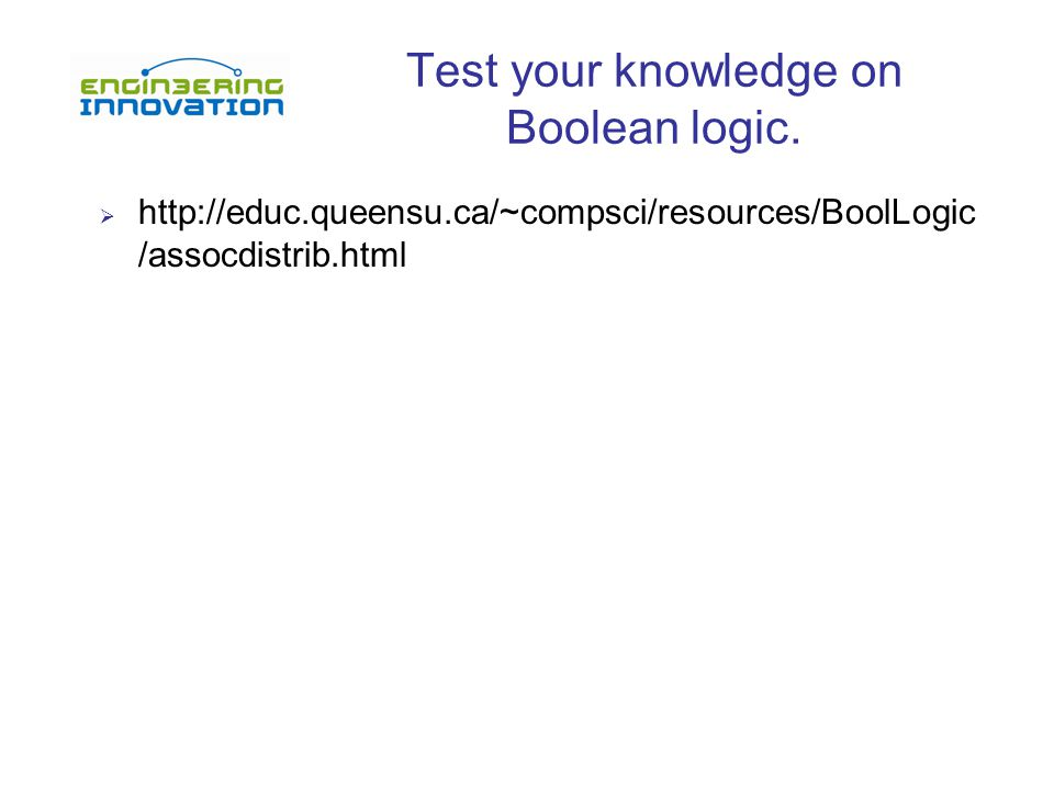 Test your knowledge on Boolean logic.