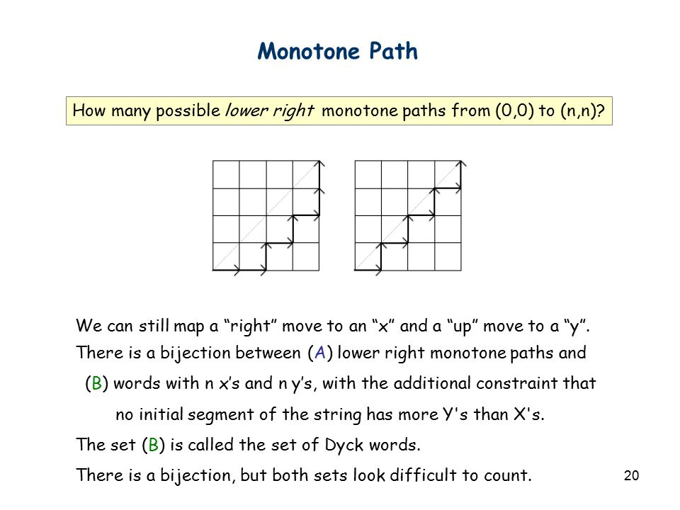 "20 Monotone Path How many possible lower right monotone paths from (0,0) to (n,n)? We can still map a ""right"" move to an ""x"" and a ""up"" move to a ""y""."