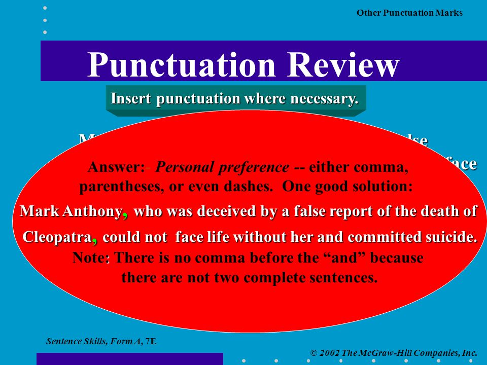 Sentence Skills, Form A, 7E © 2002 The McGraw-Hill Companies, Inc. Other Punctuation Marks Mark Anthony who was deceived by a false report of the deat