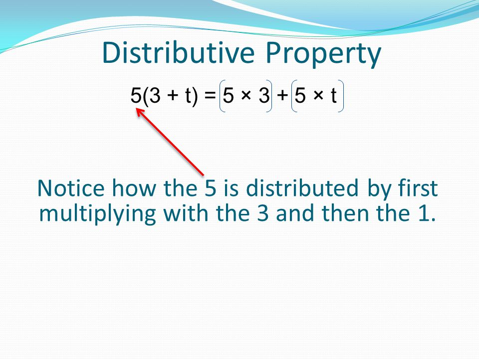 Distributive Property 5(3 + t) = When you multiply the 5 and the 3 you get 5 x 3 5(3 + t) = 5 × 3