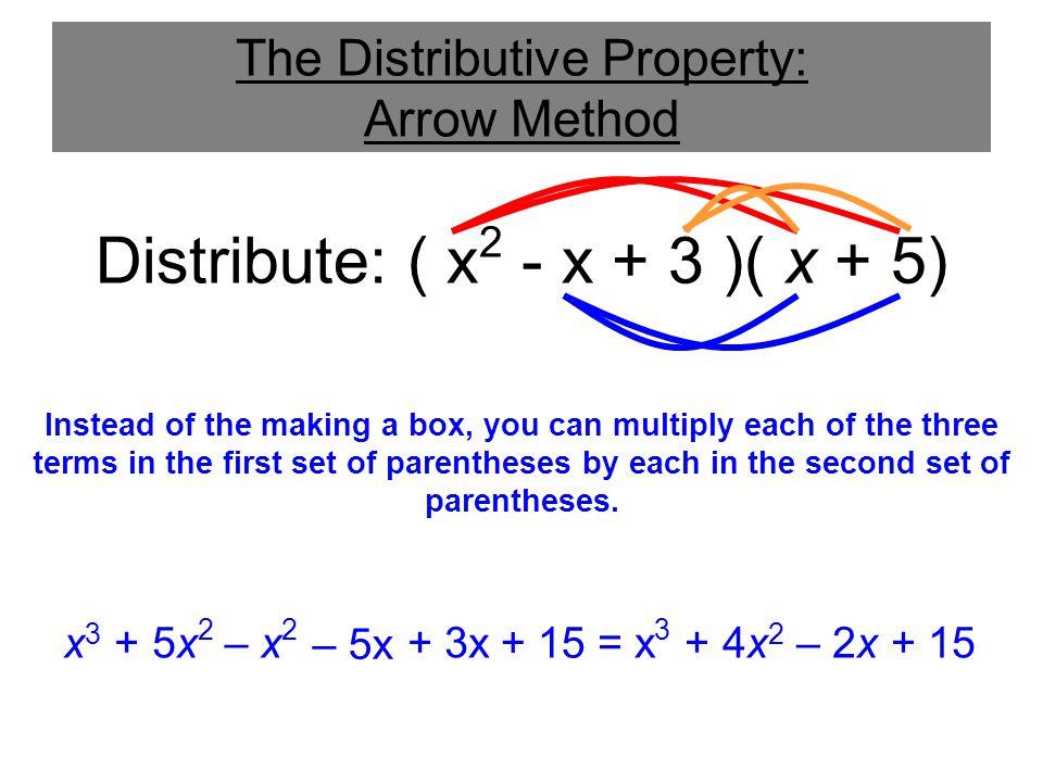 + 15 The Distributive Property: Arrow Method Distribute: ( x 2 - x + 3 )( x + 5) x 3 = x 3 + 4x 2 – 2x + 15 + 5x 2 – 5x + 3x– x 2 Instead of the makin