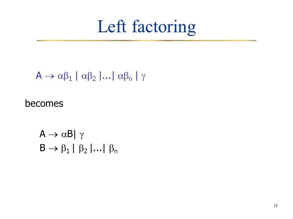 19 Left factoring A   1 |  2 |...|  n |  becomes A   B|  B   1 |  2 |...|  n
