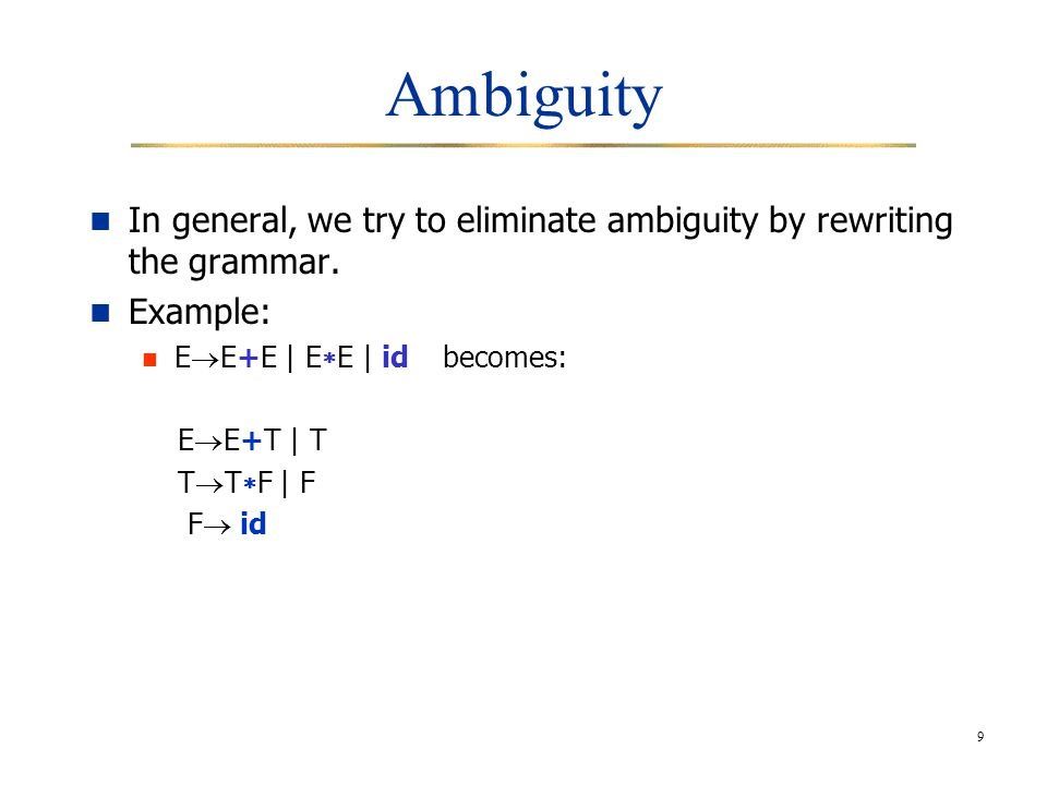 9 Ambiguity In general, we try to eliminate ambiguity by rewriting the grammar.